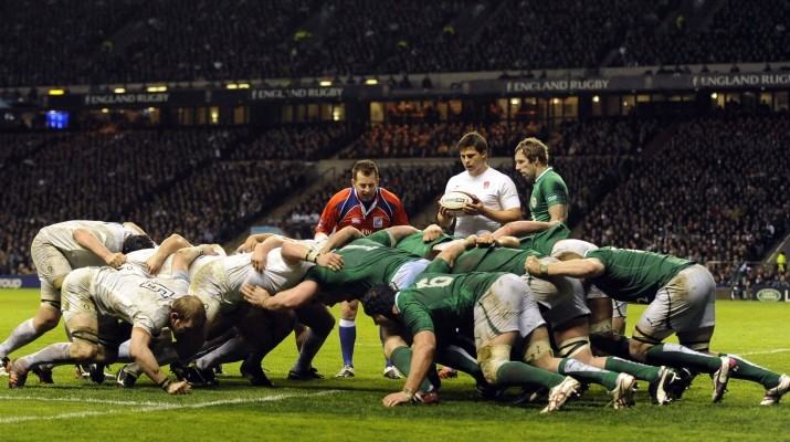 England's scrum pack down just short of Ireland's line during their Six Nations rugby union match at Twickenham Stadium in London, March 17, 2012. REUTERS/Russell Cheyne (BRITAIN - Tags: SPORT RUGBY)